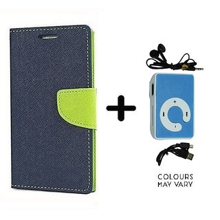 Wallet Flip Cover For HTC Desire 816  / HTC  816  - BLUE With Mini MP3 Player