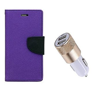 Wallet Flip Cover For Sony Xperia M2 Dual  / Xperia M2 Dual  - PURPLE With Usb Car Charger