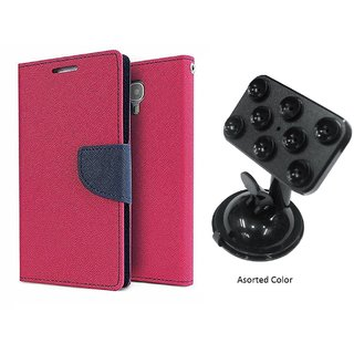 Wallet Flip Cover For Micromax Canvas Knight Cameo A290  / Micromax A290  - PINK With Universal Car Mount Holder