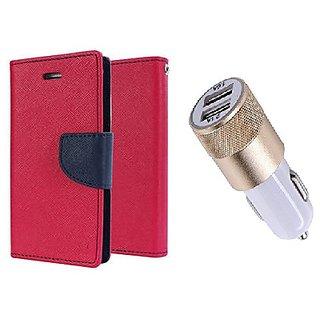 Wallet Flip Cover For Sony Xperia M4 Aqua Dual  / Xperia M4 Aqua Dual  - PINK With Usb Car Charger