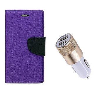 Wallet Flip Cover For Sony Xperia M4 Aqua Dual  / Xperia M4 Aqua Dual  - PURPLE With Usb Car Charger