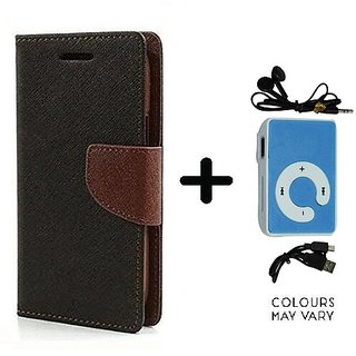 Wallet Flip Cover For HTC Desire 826  / HTC  826  - BROWN With Mini MP3 Player
