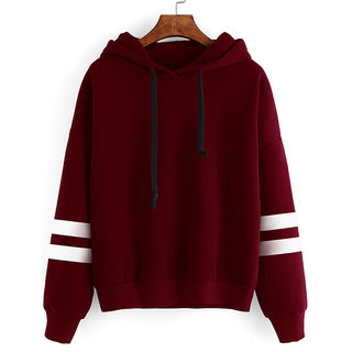 Rosella Women Maroon Hooded Sweatshirt