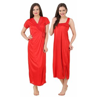 Buy Women Satin Nightwear 2 Pc Set of Nighty   Wrap Gown (M-2PCR ... 35ccfe264