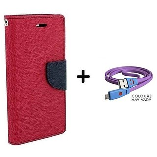 Wallet Flip Cover For Reliance Lyf Flame 4  / Reliance  Flame 4  - PINK With Micro SMILEY USB CABLE