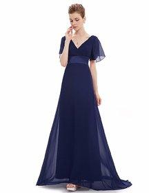 Navy Blue Wrinkle Style Georgette Women Maxi Dress