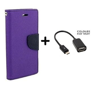 Wallet Flip Cover For OPPO NEO 5    - PURPLE With Micro OTG Cable