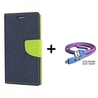 Wallet Flip Cover For Micromax Bolt Q338  / Micromax Q338  - BLUE With Micro SMILEY USB CABLE