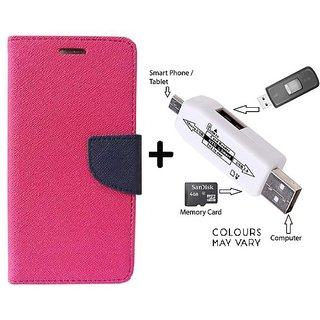 Wallet Flip Cover For Samsung Galaxy A3  / Samsung A3  - PINK With Card Reader kit to Attach Pendrive & Card Reader