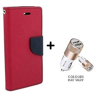 Wallet Flip Cover For Sony Xperia Z3  / Xperia Z3  - PINK With Dual USB car Charger (CR750ADP)