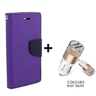 Wallet Flip Cover For Samsung Galaxy J1  / Samsung J1  - PURPLE With Dual USB car Charger (CR750ADP)