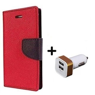 Wallet Flip Cover For Lenovo Vibe P1    - RED With 2 Port Car Adapter(CR350A)