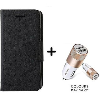 Wallet Flip Cover For Reliance Lyf Water 2  / Reliance  Water 2  - BLACK With Dual USB car Charger (CR750ADP)