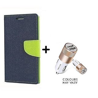 Wallet Flip Cover For Samsung Galaxy J5 (2016)  / Samsung J5 (2016)  - BLUE With Dual USB car Charger (CR750ADP)