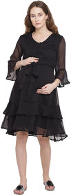 Mine4Nine Women's Black  Midi Maternity Dress