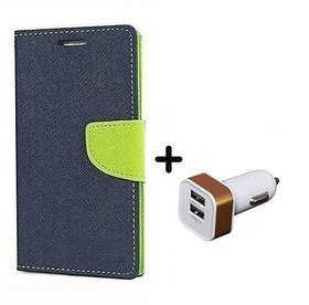 Wallet Flip Cover For Samsung Galaxy Grand Duos I9082  / Samsung i9082  - BLUE With 2 Port Car Adapter(CR350A)