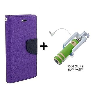 Wallet Flip Cover For Samsung Galaxy J7 Prime  / Samsung J7 Prime  - PURPLE With Mini Selfie Stick(Color May Vary)
