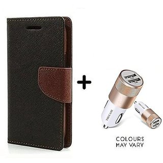 Wallet Flip Cover For Micromax Canvas Nitro 2 E311  / Micromax E311  - BROWN With Dual USB car Charger (CR750ADP)