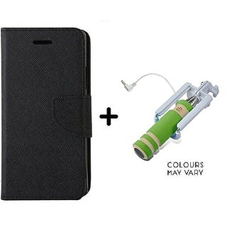 Wallet Flip Cover For Micromax Canvas Fire A093  / Micromax A093  - BLACK With Mini Selfie Stick(Color May Vary)