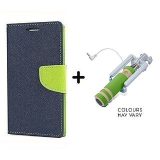 Wallet Flip Cover For Micromax Canvas Hue AQ5000  / Micromax AQ5000  - BLUE With Mini Selfie Stick(Color May Vary)