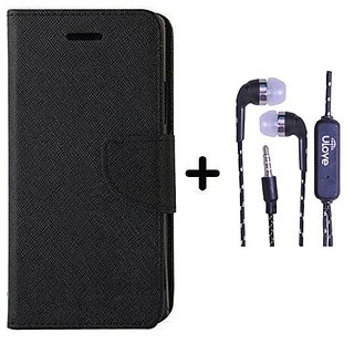 Mercury  Flip Cover Samsung Galaxy J2  / Samsung J2  - BLACK With Tarang Earphone