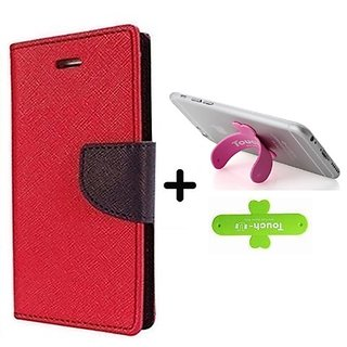 Mercury  Flip Cover Samsung Galaxy J2  / Samsung J2  - RED With One Touch Mobile Stand