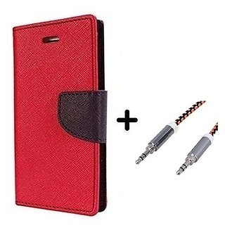 Mercury  Flip Cover Samsung Galaxy J2  / Samsung J2  - RED With Aux Cable