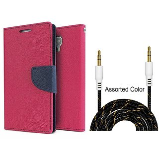 Mercury  Flip Cover Samsung Galaxy J2  / Samsung J2  - PINK With Fabric Universal AUX Cable-1 Meter (Color May vary)