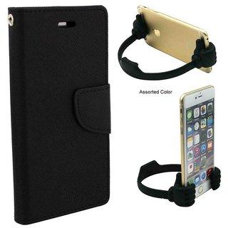 Mercury  Flip Cover Samsung Galaxy J2  / Samsung J2  - BLACK With Universal Portable Mobile OK Stand