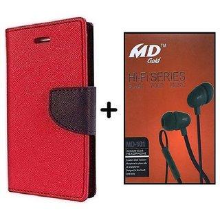 Mercury  Flip Cover Samsung Galaxy J2  / Samsung J2  - RED With Earphone(BRN50B)