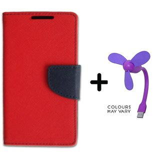 Wallet Flip Cover For  Redmi 4 (4X) / REDMI 4X - RED With Usb Fan