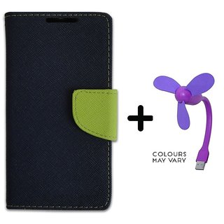 Wallet Flip Cover For  Redmi 4A / REDMI 4A   - BLUE With Usb Fan