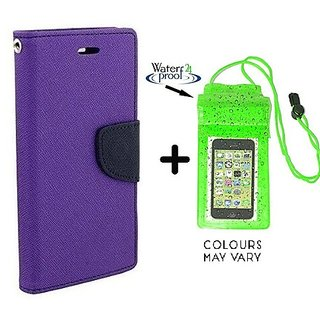 Wallet Flip Cover For  Redmi 1S  /  Redmi 1S  - PURPLE With Underwater Pouch Phone Case