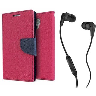 Wallet Flip Cover For  Redmi 4 (4X) / REDMI 4X - PINK With 3.5mm SkuCandy Earphone(Color May vary)