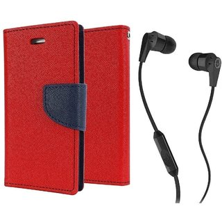 Wallet Flip Cover For  Redmi 4 (4X) / REDMI 4X - RED With 3.5mm SkuCandy Earphone(Color May vary)