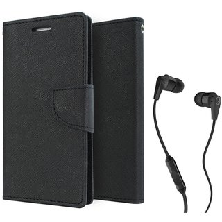 Wallet Flip Cover For  Redmi 4A / REDMI 4A   - BLACK With 3.5mm SkuCandy Earphone(Color May vary)
