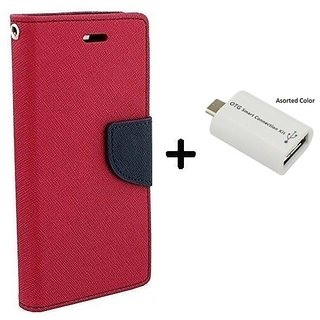 Wallet Flip Cover For  Redmi 5A / REDMI 5A   - PINK With Micro OTG SMART