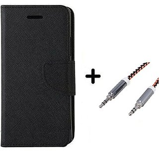 Wallet Flip Cover For  Redmi 5A / REDMI 5A   - BLACK With Aux Cable