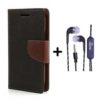 Flip Back Cover For Samsung Galaxy S4 I9500  / Samsung i9500  ( BROWN ) With Tarang Earphone