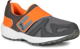 Smart Men Gray Orange Slip On Running Sport Shoes