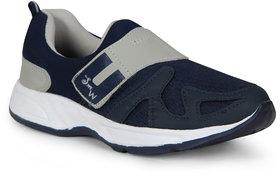 Smart Men Navy Blue Gray Slip On Running Sport Shoes