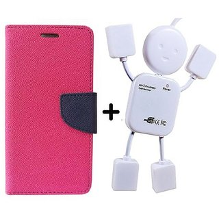Flip Back Cover For Reliance Lyf Flame 4  / Reliance  Flame 4  ( PINK ) With Usb Hub