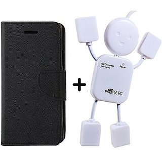 Flip Back Cover For Reliance Lyf Wind 1  / Reliance  Wind 1  ( BLACK ) With Usb Hub