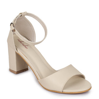 Funku Fashion Beige Block Heels