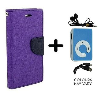 Flip Back Cover For Micromax Canvas 2.2 A114  / Micromax A114  ( PURPLE ) With Mini MP3 Player