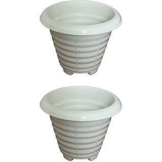 Crete Virgin Plastic White Pot ( Set Of 2 Pcs )