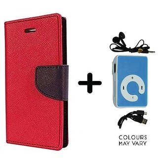 Flip Back Cover For Samsung Galaxy A3 (2016)  / Samsung A3 (2016)  ( RED ) With Mini MP3 Player