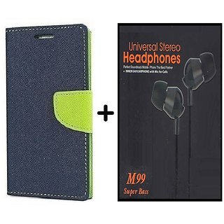 Flip Back Cover For Reliance Lyf Flame 4  / Reliance  Flame 4  ( BLUE ) With Earphone(BLK60A)