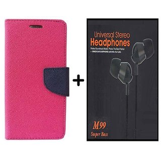 Flip Back Cover For Reliance Lyf Flame 4  / Reliance  Flame 4  ( PINK ) With Earphone(BLK60A)