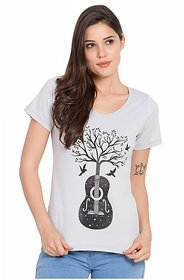 SBO Fashion Grey Color, Printed Half Sleeve Trendy Women's T-Shirt 5240Navy